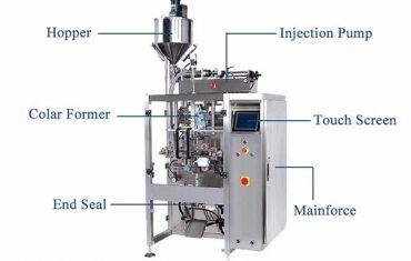 kapalina ve vertikálním tvaru plní těsnicí stroj s plnicí náplní